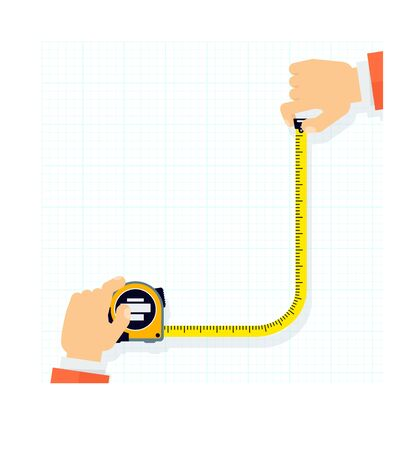 Measuring tape in the hands of a man. Template for a poster