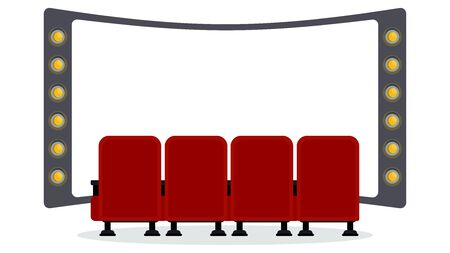 Cinema seats illustration. Flat vector objects isolated on a white background.