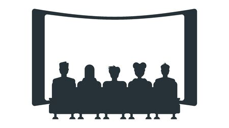 Silhouettes of people in cinema. Stock Illustratie