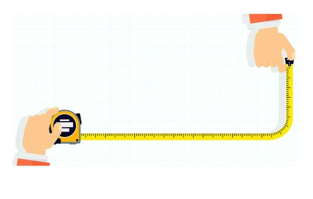 Measuring tape in the hands of a man. Template for a poster of a construction and repair company. Flat vector illustration. Vettoriali