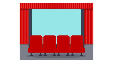 Cinema seats illustration. Row of soft red armchairs in front of a movie theater screen. Premiere of the film, screening. Flat vector objects isolated on a white background. Illusztráció