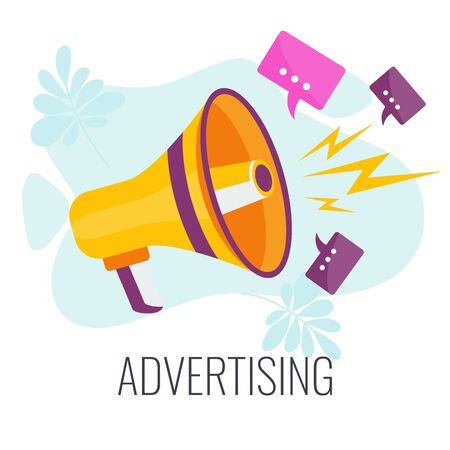 Advertising business concept. Megaphone sends messages. Marketing communications aimed at target audience. Promotion of goods and services for potential customers. Flat vector cartoon illustration.