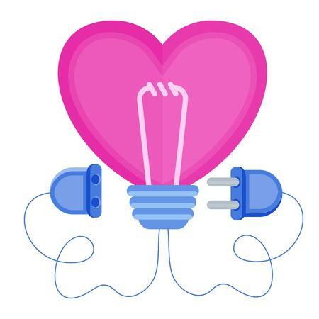 Love energy. Heart with power plug and socket. Heart shaped lamp. Metaphor of passion, hot feelings. Flat trending vector illustration. Ilustração