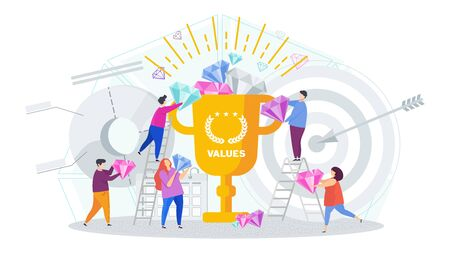 Business values concept. Company values shared by staff. Employees support the company ideas, business vision, mission, development concept. Trendy flat vector style illustration.