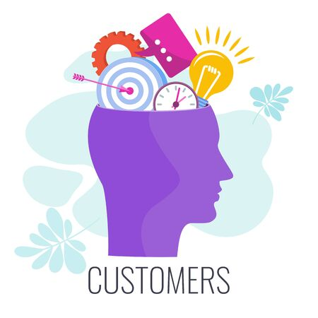 Client, customer, consumer infographics pictogram. Studying target audience. Segmentation and customer profile, creation marketing strategy to promote brand, product. Flat vector illustration.