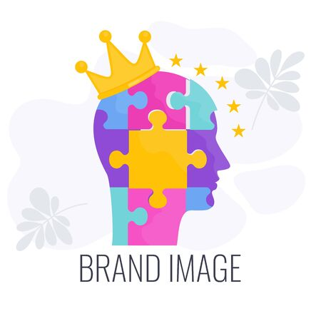Brand image infographics pictogram. Human head from puzzles.