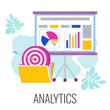 Analytics infographics pictogram. Flipchart and folder with goals and objectives. Strategy, management and marketing. Business concept and metaphor. Flat vector illustration.