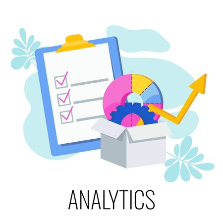 Analytics infographics pictogram. Check sheet and box with analytics tools. Strategy, management and marketing. Business concept and metaphor. Flat vector illustration.