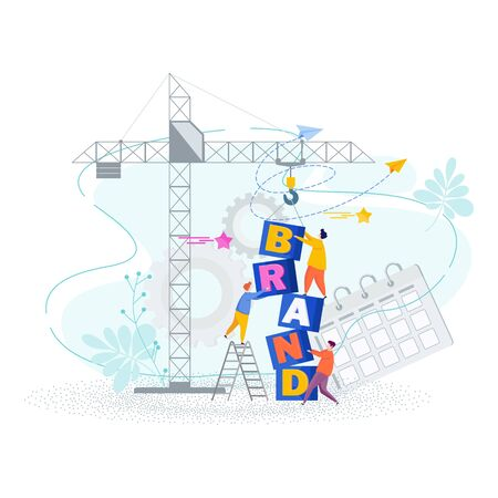 Brand building concept. Tiny people collect word Brand from cubes. Tower crane at construction site. Strategy, management and marketing. Brand positioning statement. Flat vector illustration. Ilustración de vector