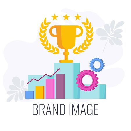 Brand image infographics pictogram. Cup for first place in competition. Strategy, management and marketing. Brand positioning statement. Flat vector illustration.