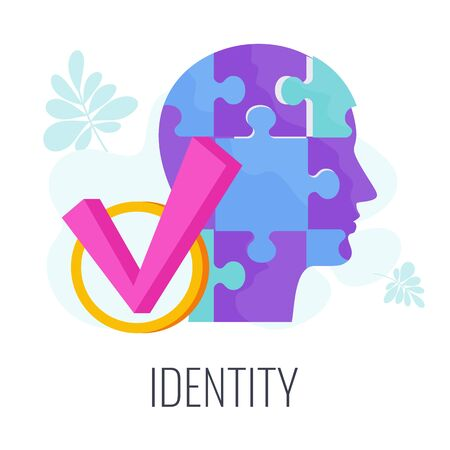 Identity infographics pictogram. Distinctive features of brand.