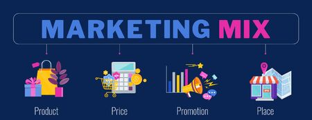 Four 4 PS marketing mix infographic flat vector illustration scheme. Strategy and management. Segmentation, target audience. Successful positioning of company in market.