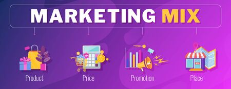 Four 4 PS marketing mix infographic flat vector illustration scheme. Strategy and management. Segmentation, target audience. Successful positioning of company in market. Ilustração Vetorial