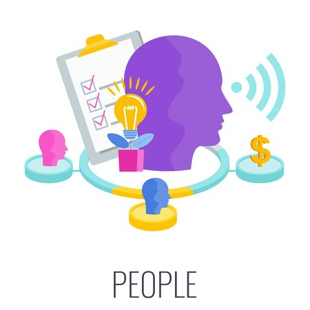 People infographics pictogram. 7 PS marketing mix infographic flat vector illustration scheme. Strategy and management. Segmentation, target audience. Successful positioning of company in market. 向量圖像