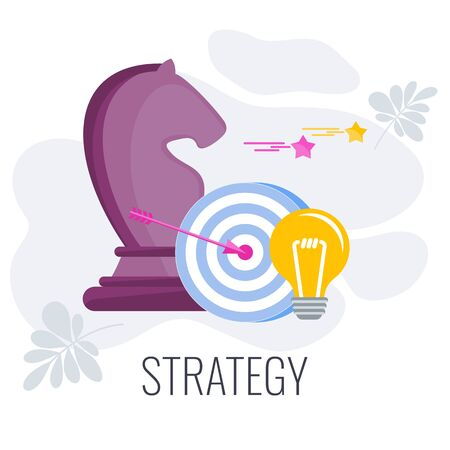 Strategy infographics pictogram. Chess horse, goal, electric lamp. Flat vector illustration.