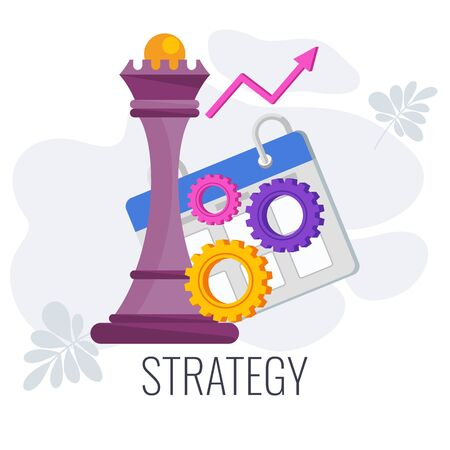 Strategy infographics pictogram. Chess queen, gear, calendar planning. Flat vector illustration. Illusztráció