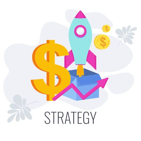 Strategy infographics pictogram. Dollar, rocket out of the box. Flat vector illustration.