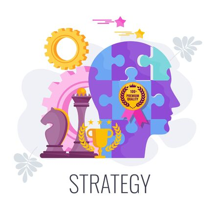 Strategy infographics flat vector cartoon illustration. Illusztráció