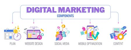 Digital marketing banner. Infographics Pictogram. Flat vector illustration.