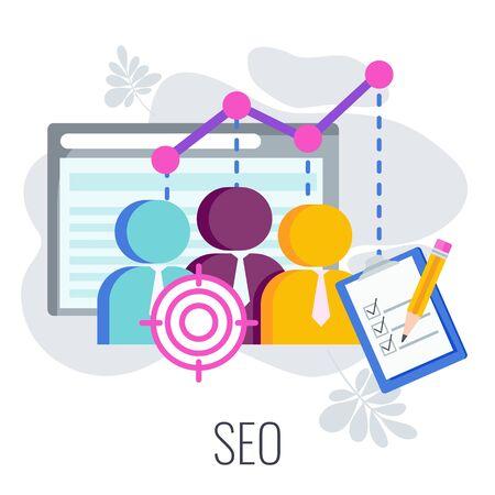 Search engine optimization Infographics Pictogram. SEO strategy. Ilustrace