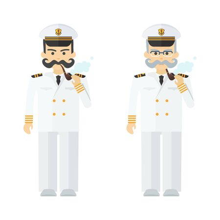 Young and elderly naval captain smokes a pipe. Command of military cruiser, a cruise liner. Flat vector cartoon illustration. Objects isolated on a white background.