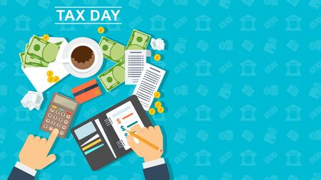 Tax day banner. Man calculates the cost of a calculator and writes the amount of expenses in a notebook. Scattered notes and coins. Flat vector illustration on blue background.