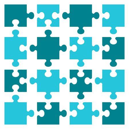 Business concept puzzles. Sixteen pieces. Flat vector cartoon illustration.