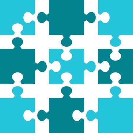 Business concept puzzles. Flat vector cartoon illustration.