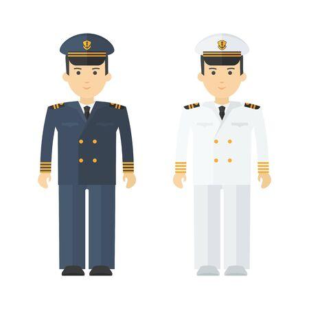 Military naval officer in full dress. Flat vector cartoon illustration.