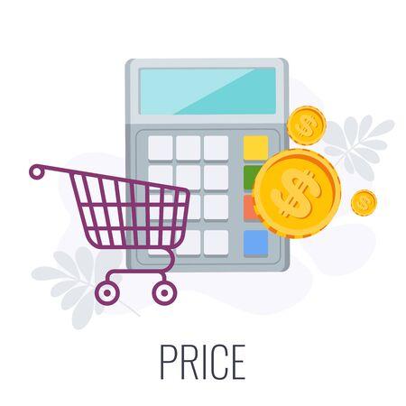 Price Infographics Pictogram. Successful content marketing strategy. Advertising campaign planning, promotion management. Flat vector illustration. Ilustração Vetorial