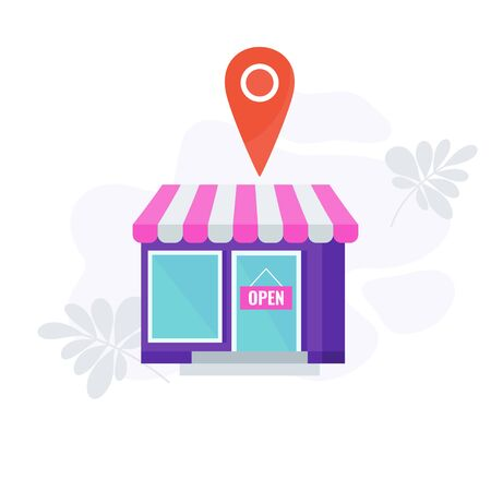 Place, store infographics pictogram. Four 4 PS marketing mix.
