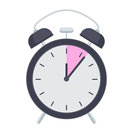 Retro alarm clock. Flat vector illustration Illustration