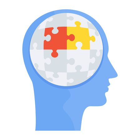 Logical thinking. Human head with puzzles inside.