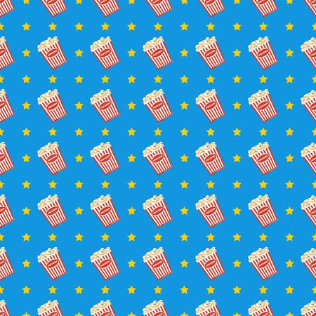 Cinema seamless pattern. Wallpaper with popcorn, stereo glasses and stars.