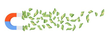 Attract money with a huge magnet. Flat cartoon illustration on white background. Illustration