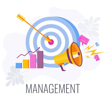 Management Infographics Pictogram. Flat vector illustration on white background. Standard-Bild - 146603539