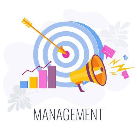 Management Infographics Pictogram. Flat vector illustration on white background. Illustration