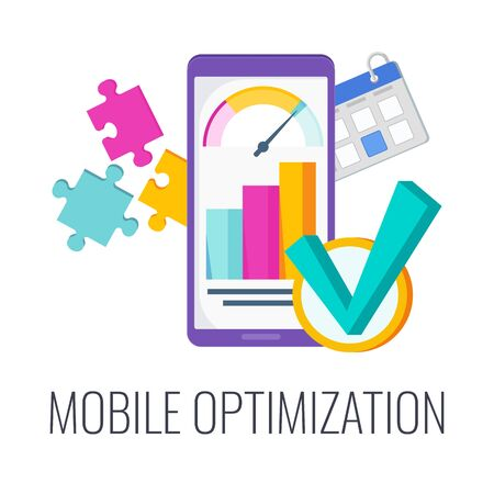 Mobile optimization. Configuring site content for mobile devices. Digital marketing. Flat vector illustration.  イラスト・ベクター素材