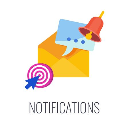 Notifications infographics pictogram. Digital marketing. Email in mailbox. Flat vector illustration. Illustration