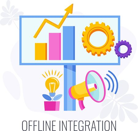 Offline integration. Integrate offline and online marketing to grow business. Combining marketing channels of communication with consumers. Digital strategy and management. Flat vector illustration