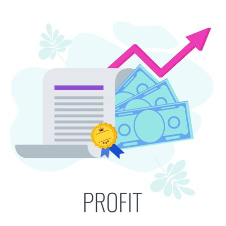 Profit Infographics Pictogram. Strategy, management and marketing. Successful business of company in market. Flat vector illustration. Standard-Bild - 146604888