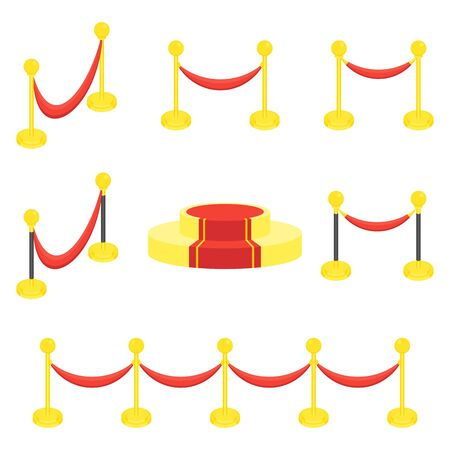 Fence posts with rope for red carpet of honor. Red carpet for holiday greeting ceremonies. Award, honoring the winners, famous people, celebrities. Flat vector cartoon illustration.