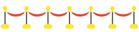 Fence posts with rope for red carpet of honor. Red carpet for holiday greeting ceremonies. Award, honoring the winners, famous people, celebrities. Flat vector cartoon illustration. Standard-Bild - 146605108