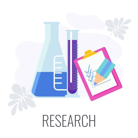 Marketing research icon. Analysis of customer behavior. Methods of studying the target audience. Flat vector illustration on white background. Vektorgrafik