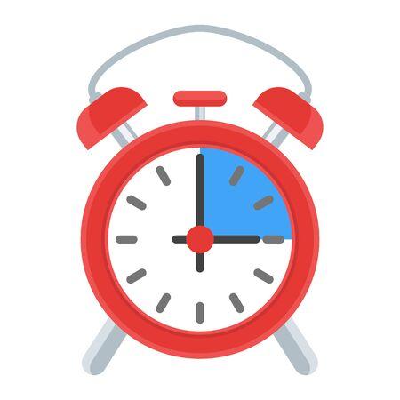 Retro alarm clock. Flat vector illustration on white background.