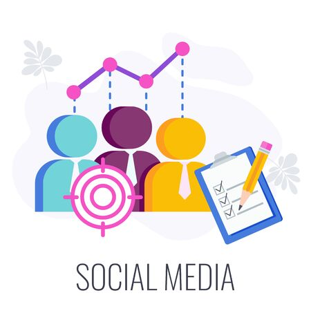 Social Media Infographics Pictogram. Virtual community, groups and publics. Digital marketing Strategy. Successful business of company in market. Flat vector illustration. Illustration