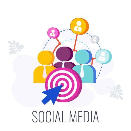 Social Media Infographics Pictogram. Global communication, building a business. Digital marketing Strategy. Successful business of company in market. Flat vector illustration. Standard-Bild - 147096001