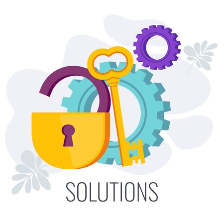 Business solution Infographics Pictogram. Open lock and key as symbol of problem solving. Strategy, marketing and management. Flat vector illustration on white background.