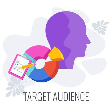 Target audience. Advertising and marketing strategies. Market segmentation to achieve business goals. Flat vector illustration on white background. Standard-Bild - 147094628