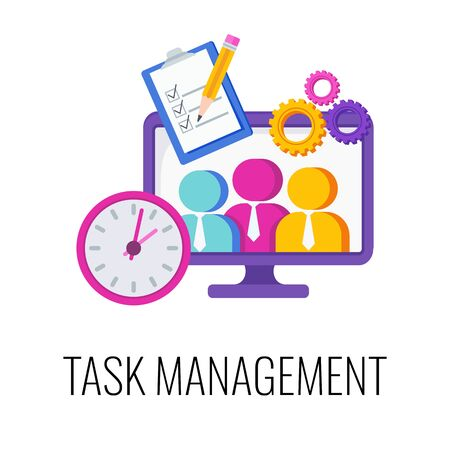 Task management Infographics Pictogram. Strategy and management. Planning and achieving goal. Increased success rates. Performance of tasks. Flat vector illustration. Illustration